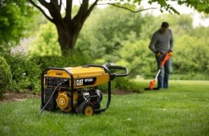 Trimmer Connected On Portable Generator